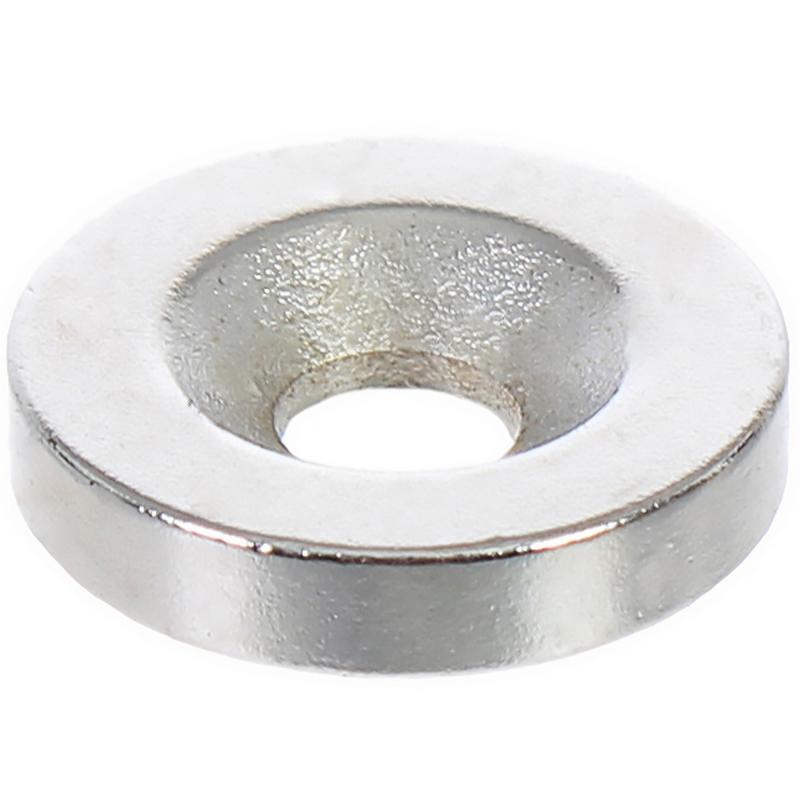 Магнит 15 мм с отверстием, цвет никель