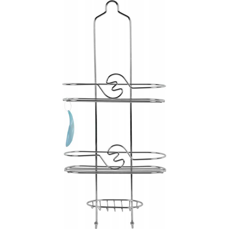 Полка для ванной комнаты Аквалиния двухъярусная с мыльницей металл