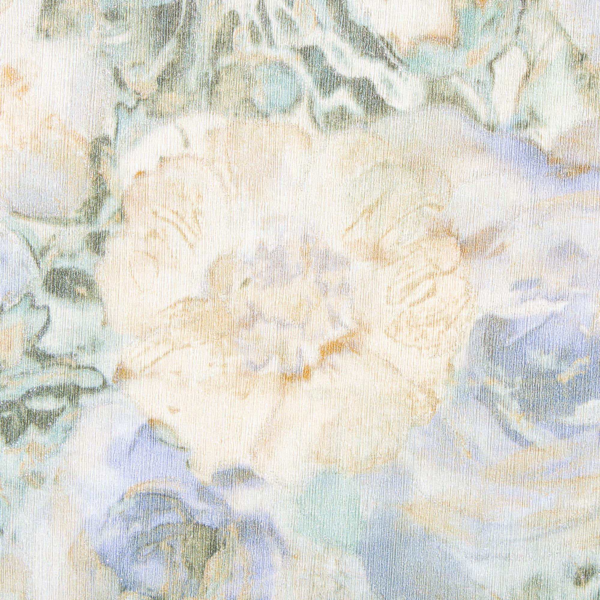 Обои флизелиновые 1.06х10 м цветы цвет зелёно-белый АС 305674
