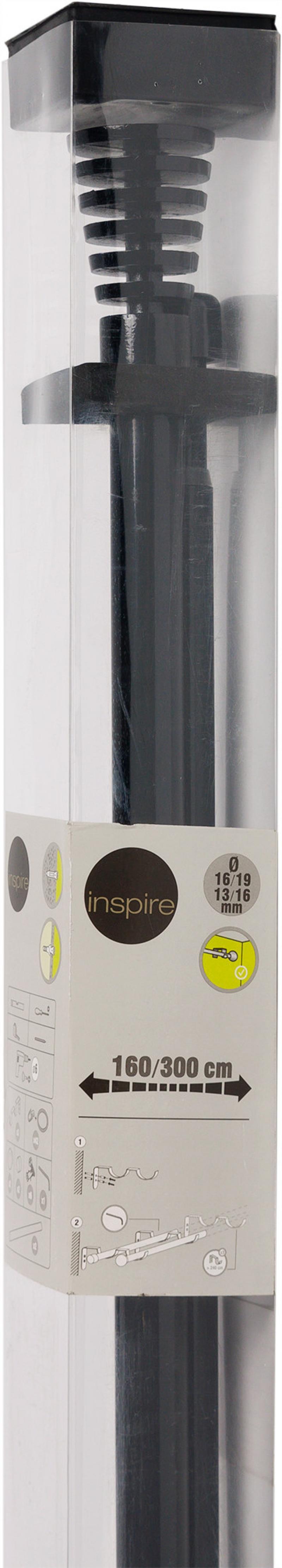 Карниз двухрядный раздвижной «Трапеция», 160-300 см, цвет чёрный