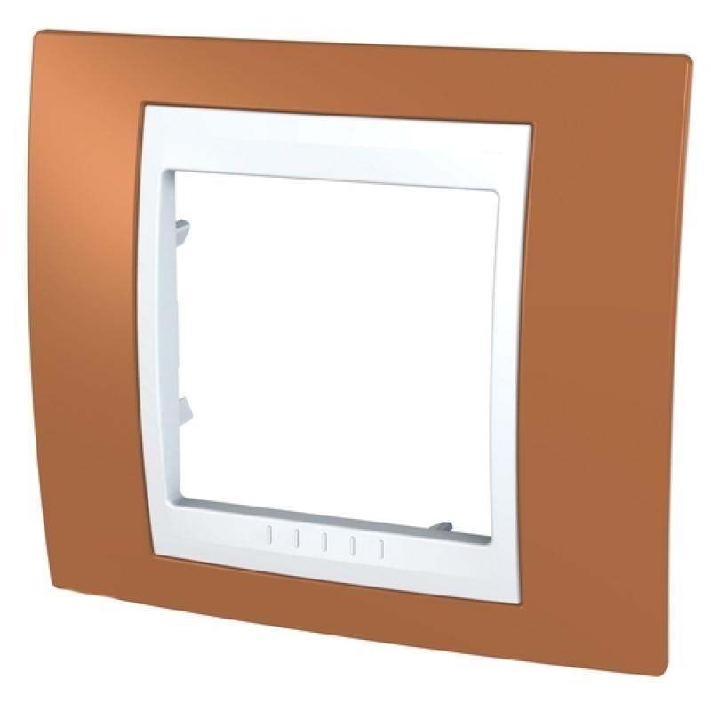 Рамка для розеток и выключателей Unica, 1 пост, цвет оранжевый/белый