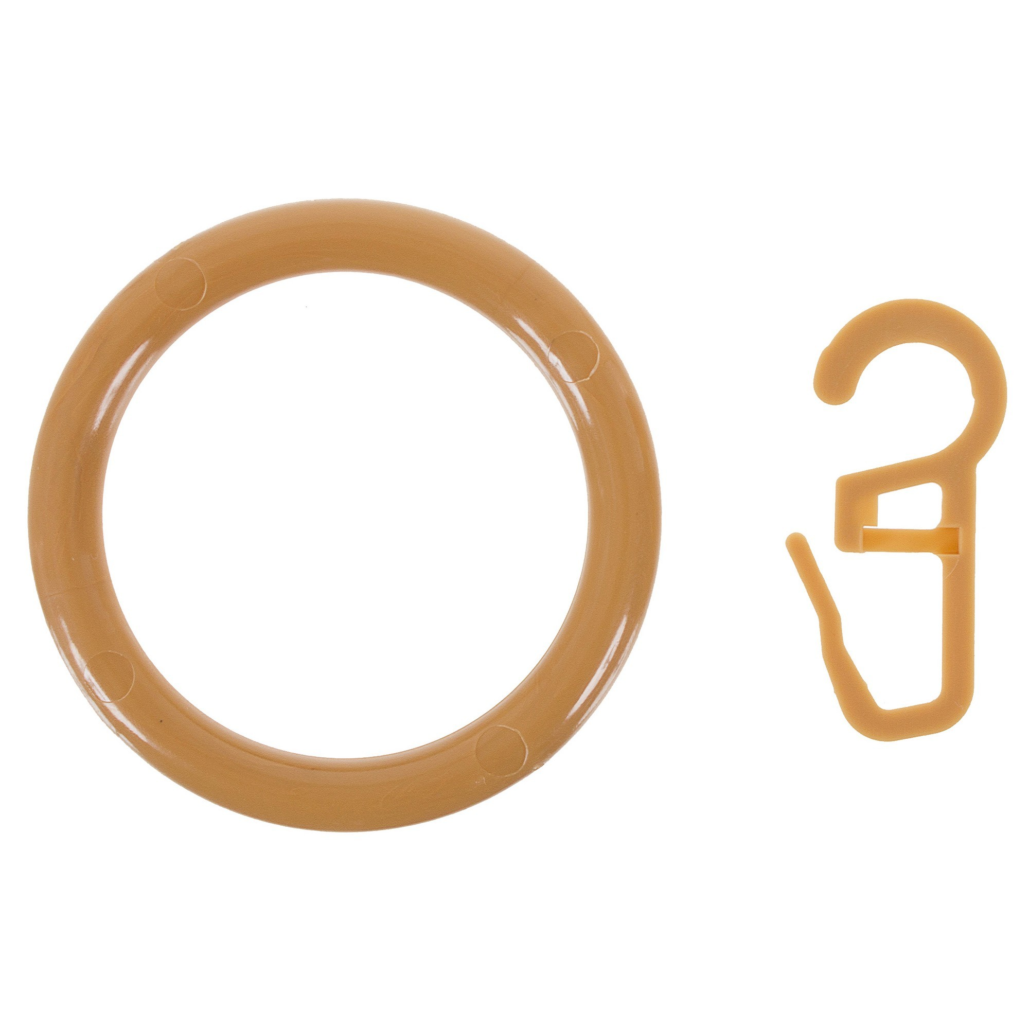 Кольцо пластик цвет светлый дуб с крючоком 4 шт.