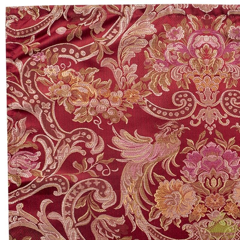 Штора, 1 шт., жаккард цветы бордовая, 150х260 см