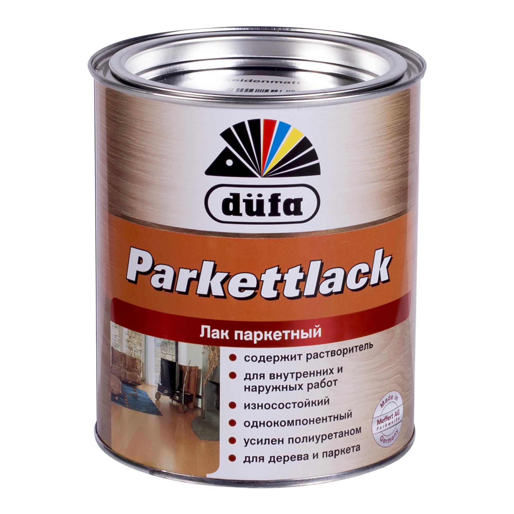 Паркетке арналған лак Dufa Parkettlack, жібек-күңгірт, көлемі 0,75 л, алкидті-полиуретанды негізді, сыртқы және ішкі жұмыстарға арналған