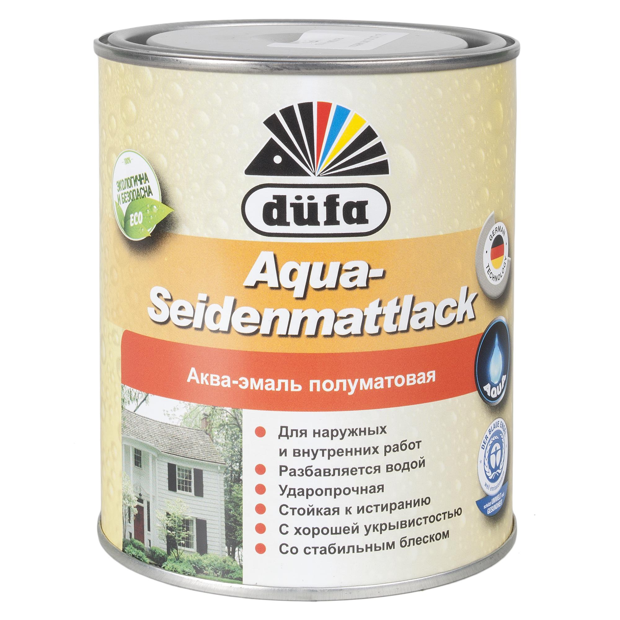 Акрилдік шайыр негізді су қосып сұйылтылатын эмаль: Dufa Aqua-Seidenmattlack эмалі, жартылай күңгірт, түсі ақ, 0,75 л