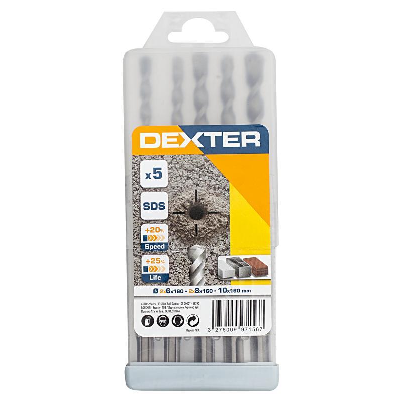 Набор буров по бетону SDS-plus 5 шт. Dexter FD-SET13, 6-10 мм
