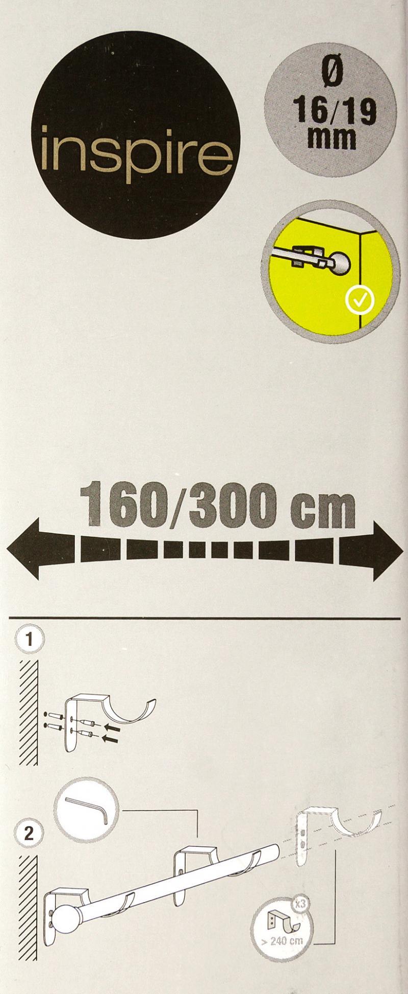 Карниз однорядный раздвижной «Цилиндр», 160-300 см, цвет стальной матовый