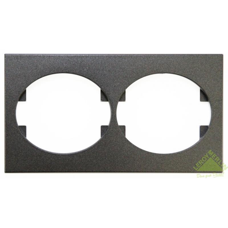 Рамка для розеток и выключателей Tacto, 2 поста, цвет антрацит