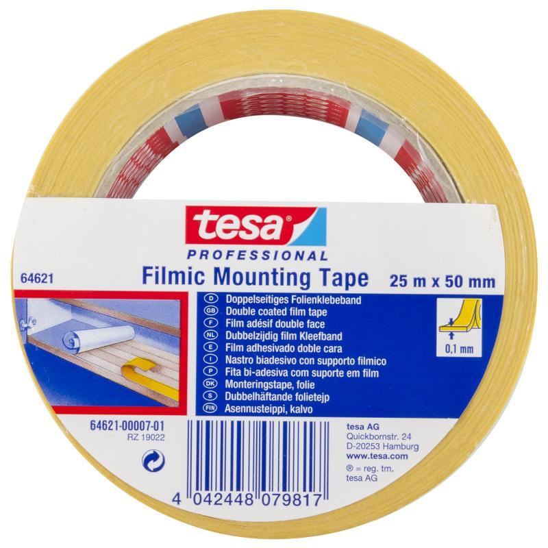 Лента двусторонняя Tesa, 50 мм х 25 м, цвет белый