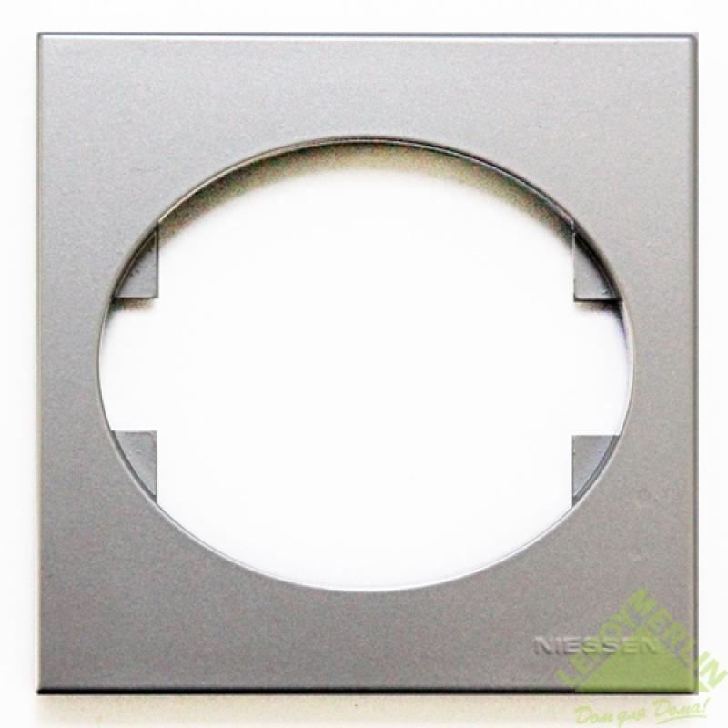 Рамка для розеток и выключателей Tacto, 1 пост, цвет серебро