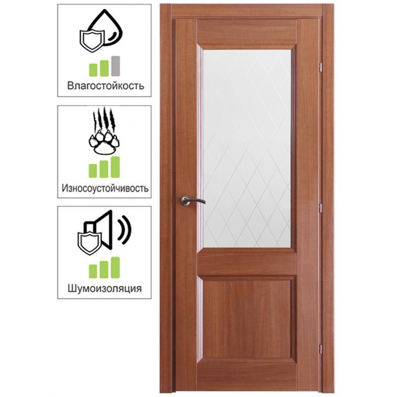 Дверь межкомнатная Танганика остеклённая CPL 60x200 см (с замком)
