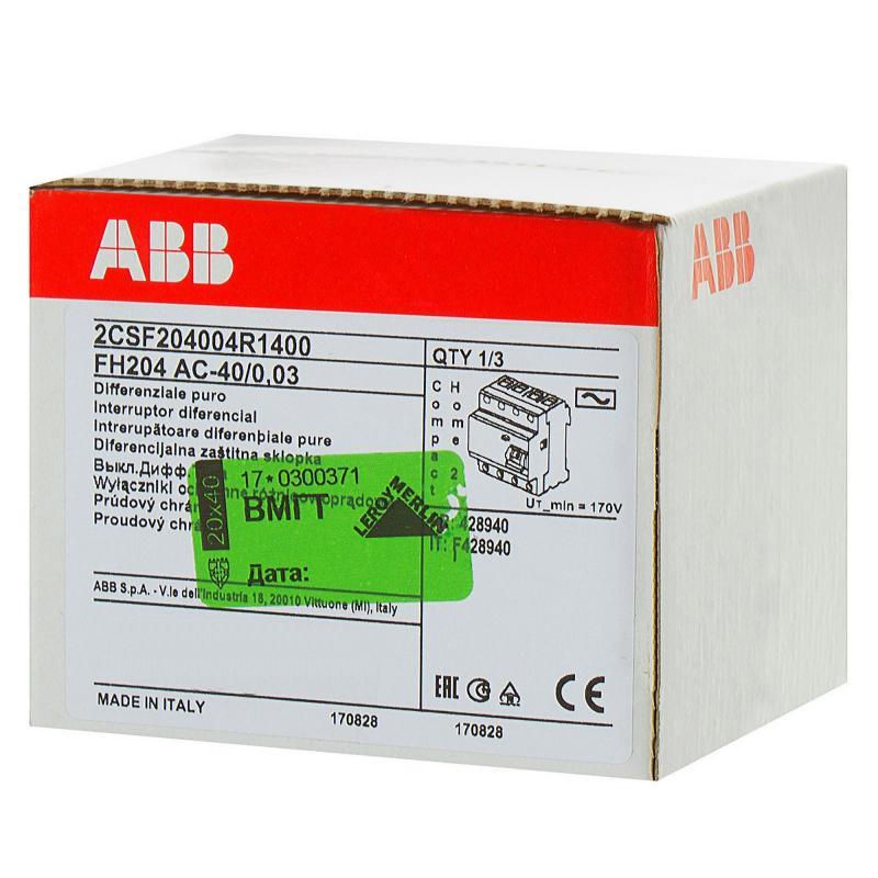 УЗО Abb 4 полюса 40 А, 2CSF204004R1400