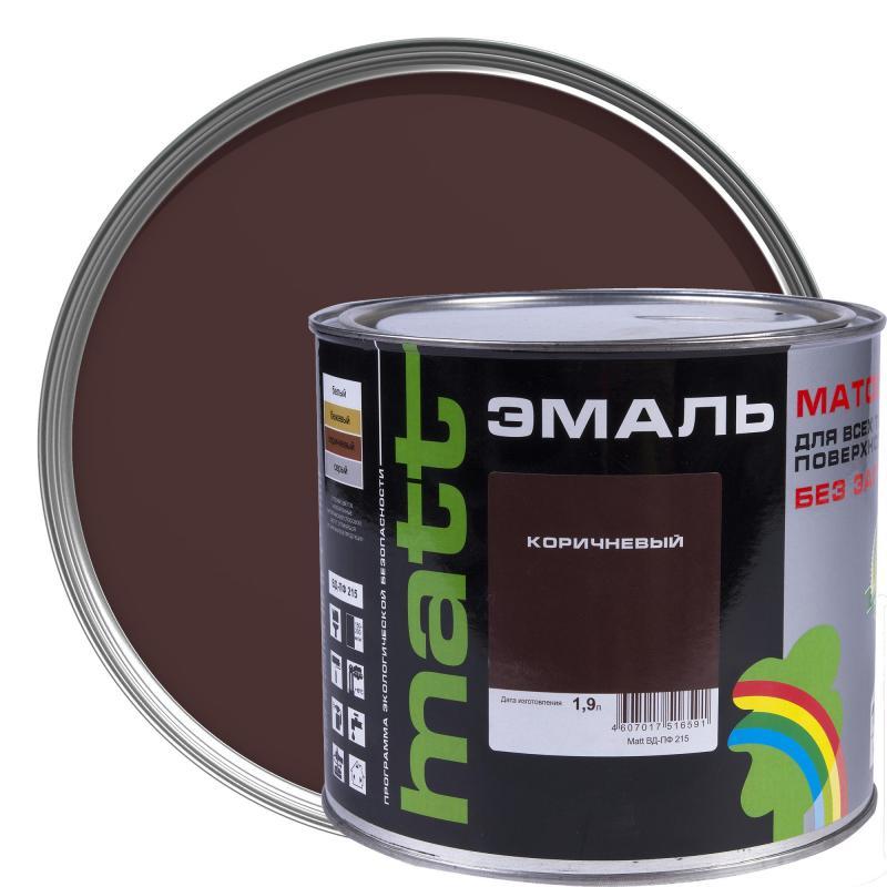 Эмаль коричневая ВД-ПФ 215 МАТТ 1.9 л