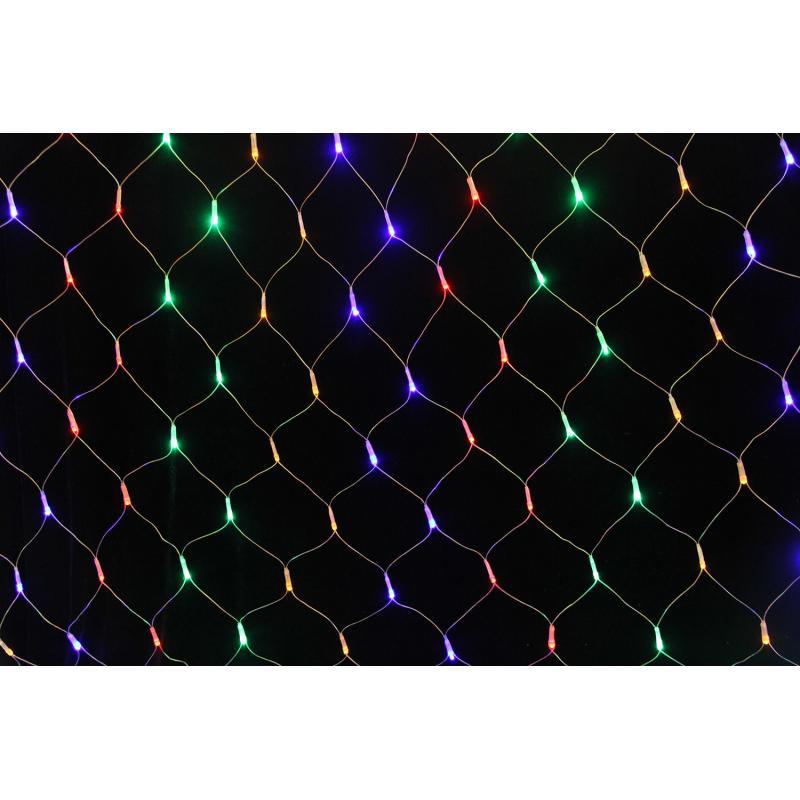 Электрогирлянда светодиодная «Сетка» для дома 96 ламп 1.5x1.5 м, цвет мультиколор