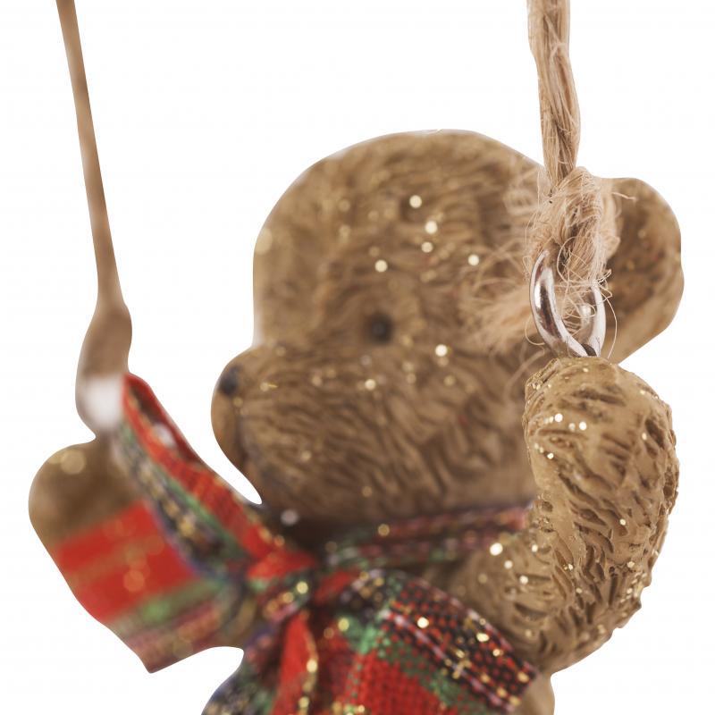 Украшение ёлочное «Мишка с бантиком», 7 см