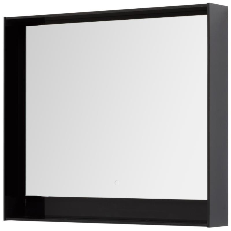 Зеркало с подсветкой «Мокка» 100 см, цвет чёрный глянец