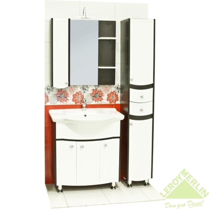 Шкаф зеркальный Меркана «Ольга», 75 см, ЛДСП/МДФ, цвет белый/венге