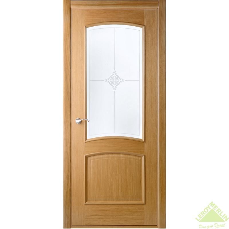 Полотно дверное остекленное Сорренто 2000x900 мм, шпон, дуб