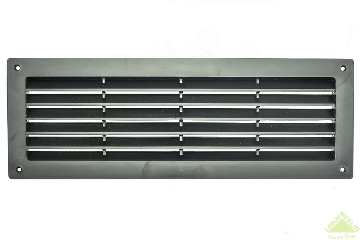 Решетка дверная вентиляционная, 344x108 мм, цвет черный