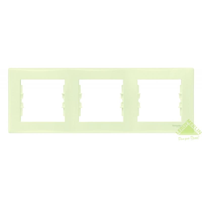 Рамка для розеток и выключателей Sedna, 3 поста, цвет бежевый