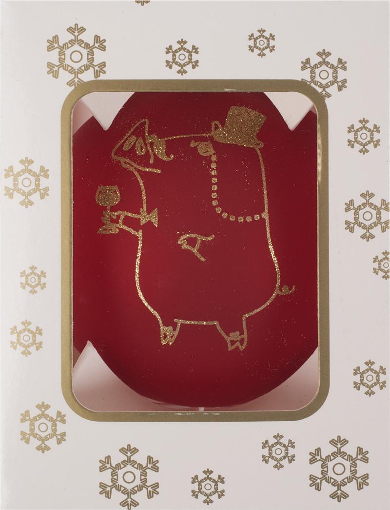 Шар ёлочный «Свинка», 6.5 см, цвет красный