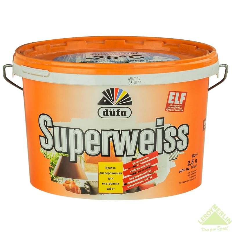 Краска для стен и потолков Dufa Superweiss 2.5 л цвет белый