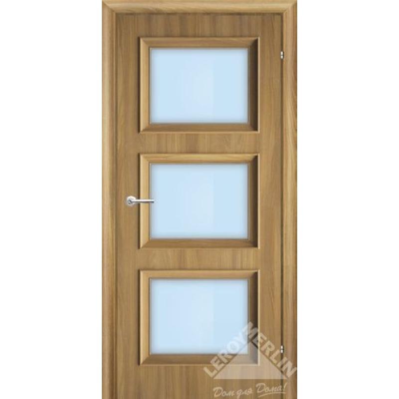 Дверное полотно остекленное, 80см, акация, замок 2014