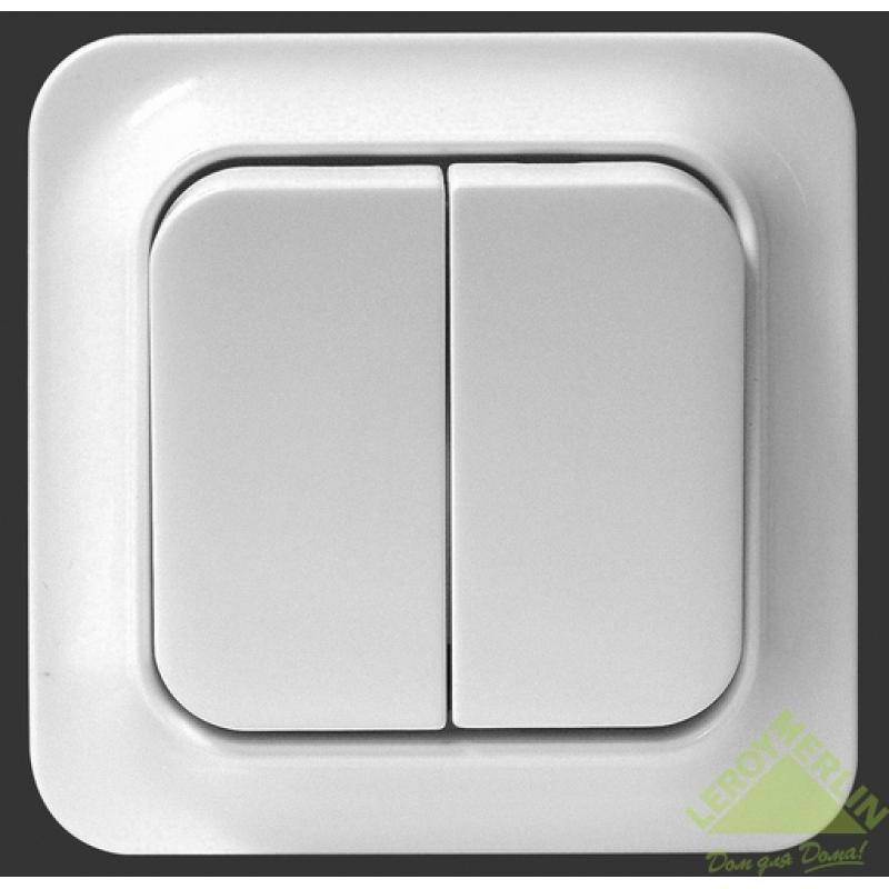 Выключатель Eljo Trend, 2 клавиши, в сборе, белый