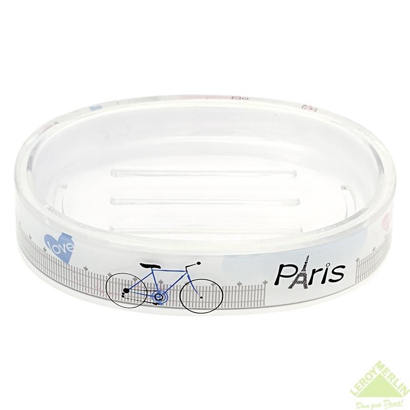 """Мыльница Tatkraft """"Paris Mademoiselle"""", акрил, цвет серый"""