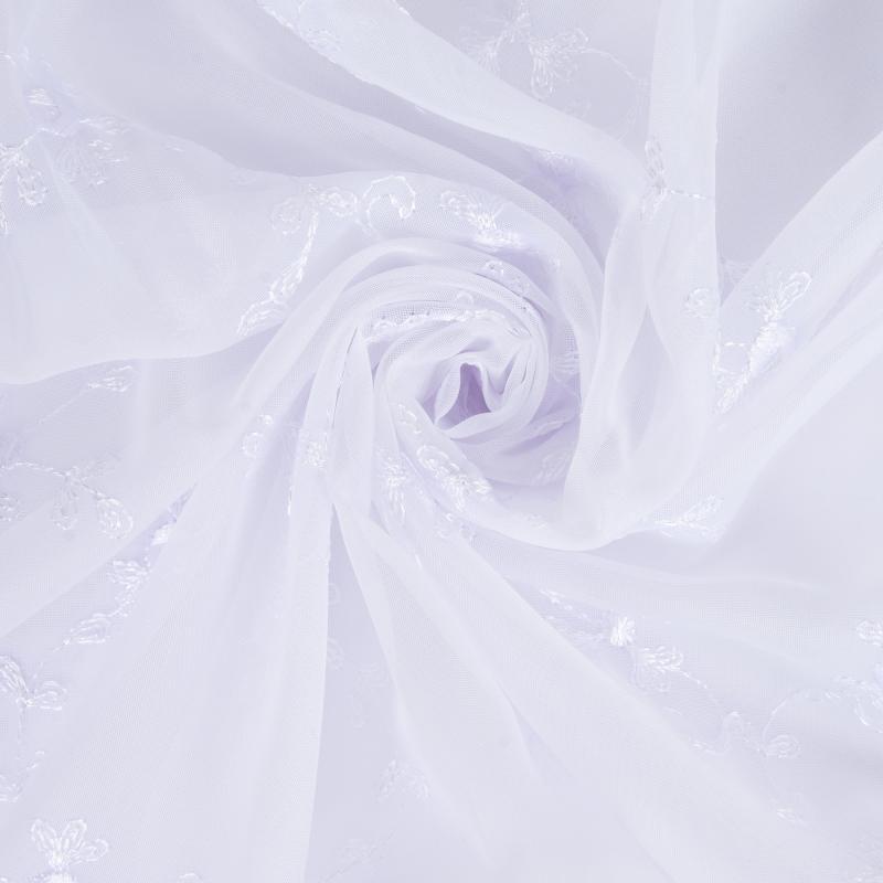 Тюль 1 п/м «Цветы», вышивка, вуаль, 280 см, цвет белый