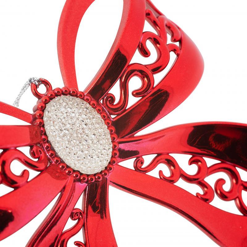 Украшение ёлочное «Бант», металлизированное, 10.5 см, цвет красный