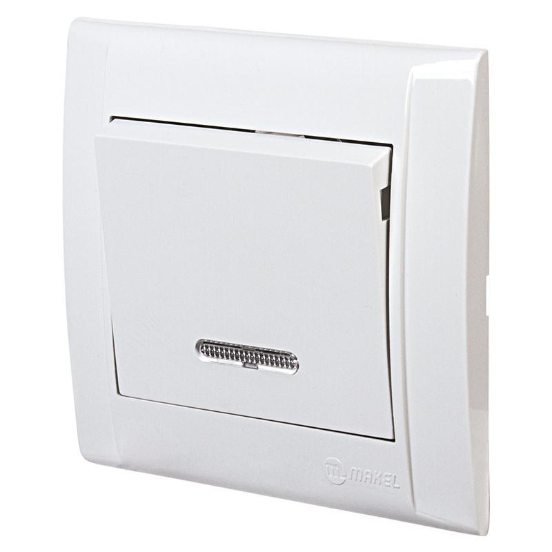 Выключатель Makel Defne 1 клавиша с индикатором. 10 А, белый