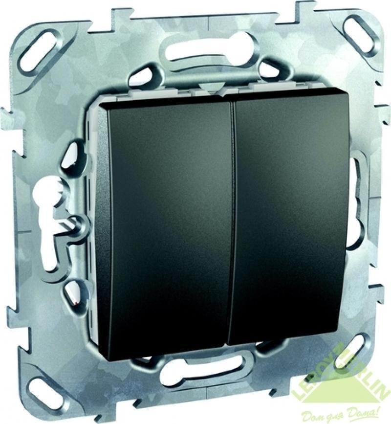 Переключатель встраиваемый Schneider Electric Unica TOP 2 клавиши, цвет графит