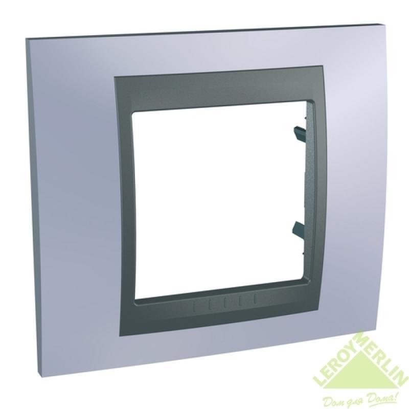 Рамка для розеток и выключателей Schneider Electric Unica Top 1 пост берилл/графит