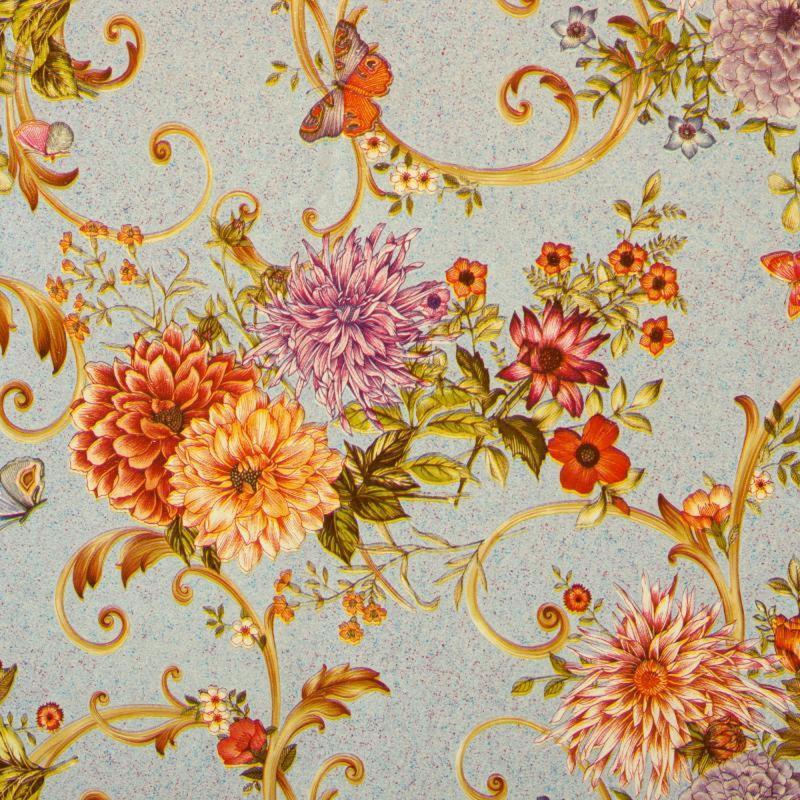 Скатерть «Георгины» 160х135 см цвет голубой