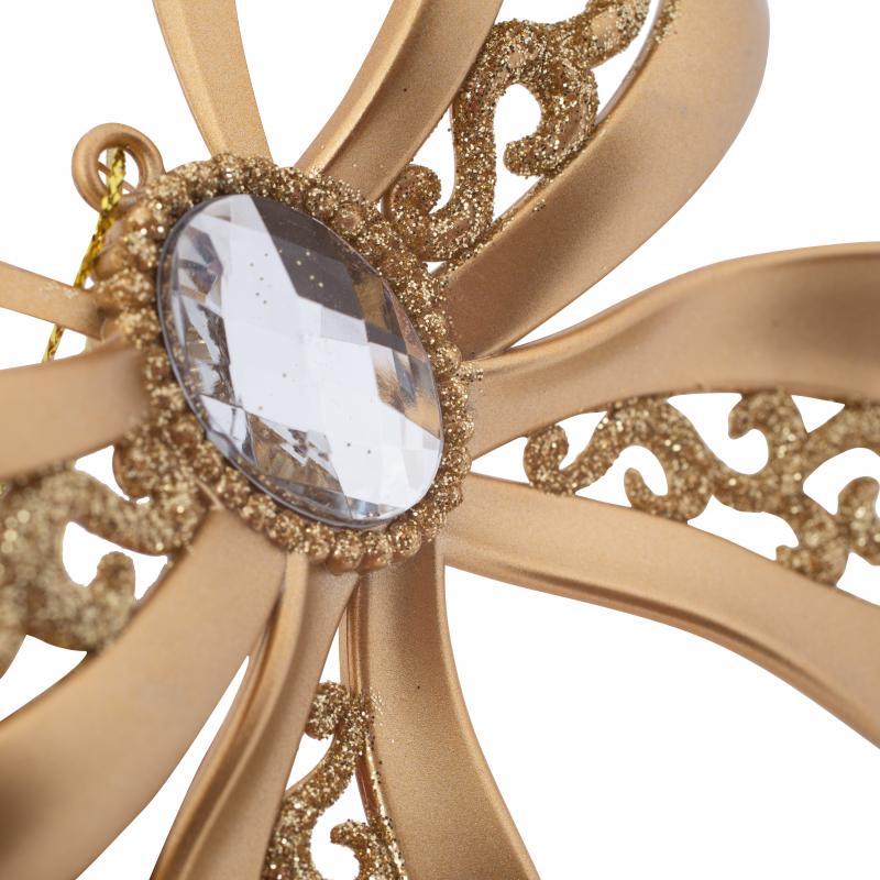 Украшение ёлочное «Бант», с напылением, цвет матовое золото