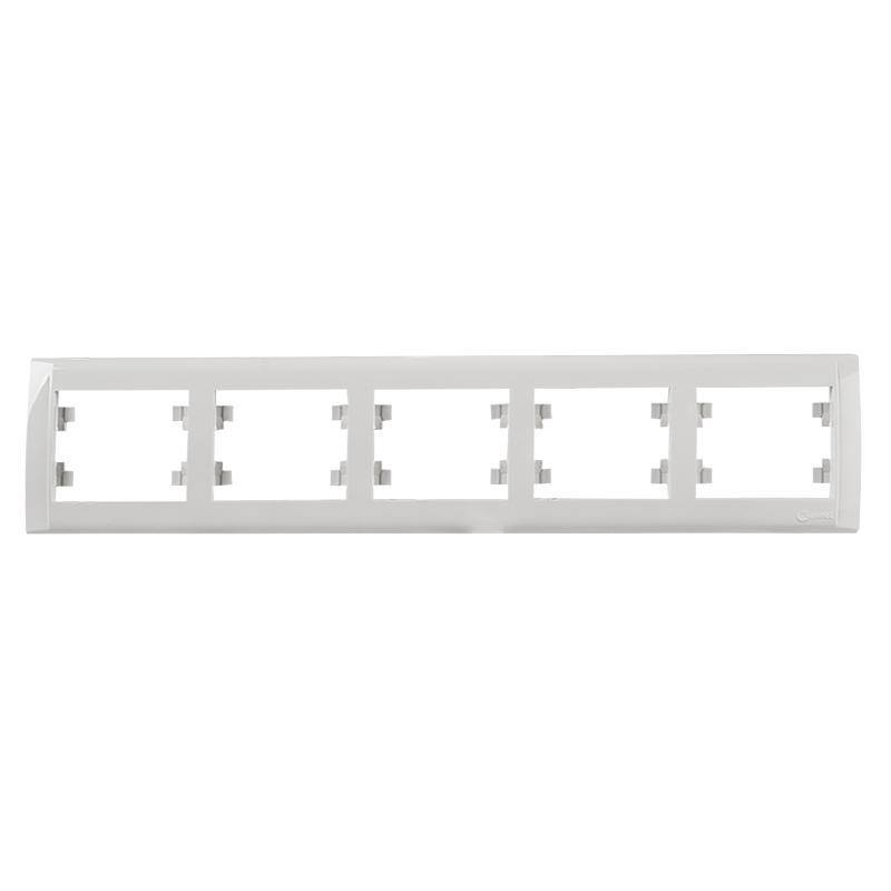 Рамка для розеток и выключателей Makel Defne, 5 постов, горизонтальная, цвет белый