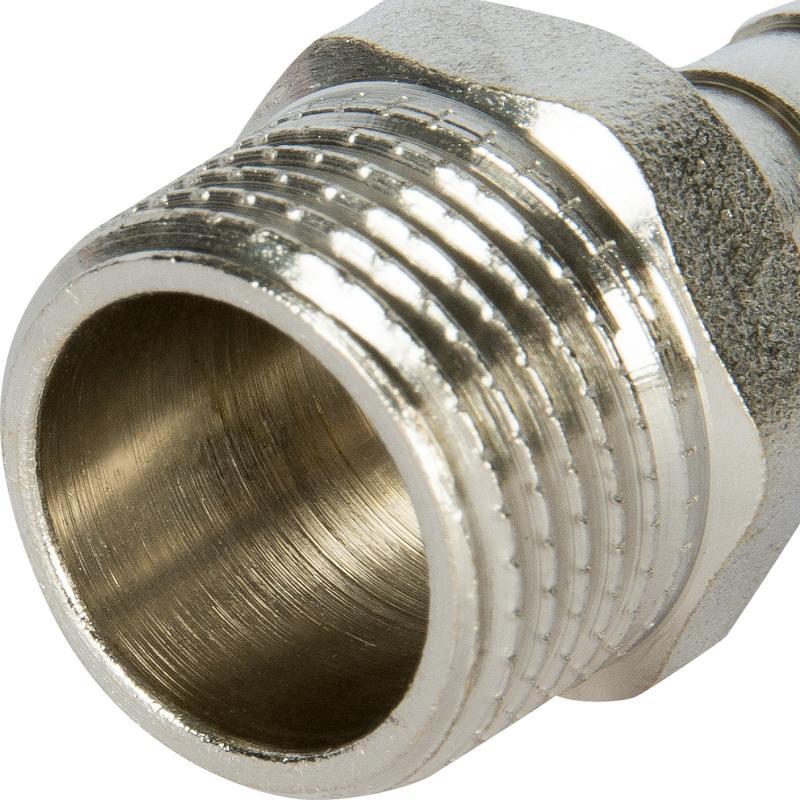 """Штуцер газовый Ростерм, 1/2"""" НР х 10 мм для шланга, латунь/сталь"""