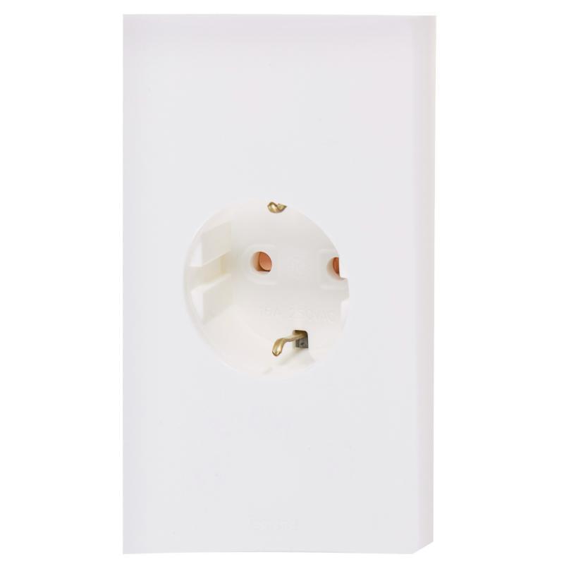 Розетка Legrand Anam Zunis с заземлением, 2 разъема, со шторками, цвет белый