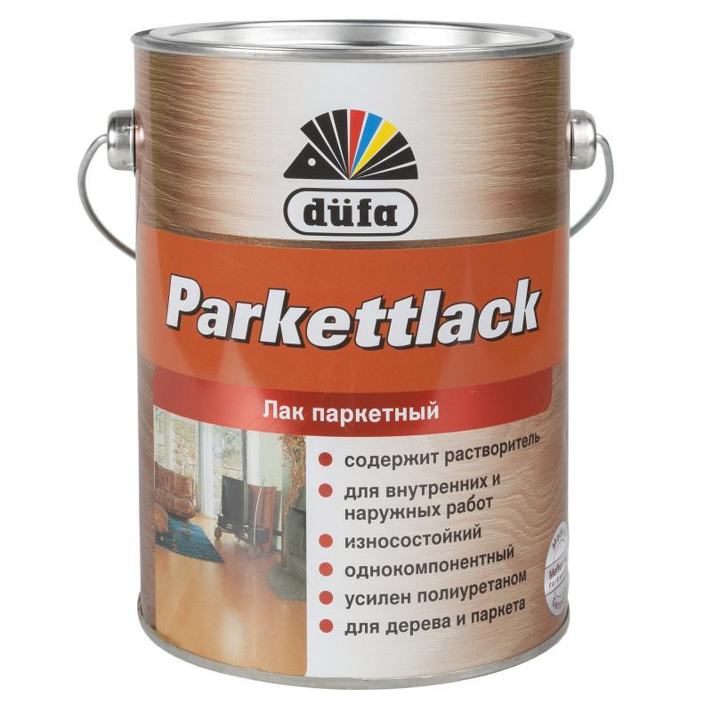 Паркетке арналған лак Dufa Parkettlack, жылтыр, көлемі 2,5 л, алкидті-полиуретанды негізді, сыртқы және ішкі жұмыстарға арналған