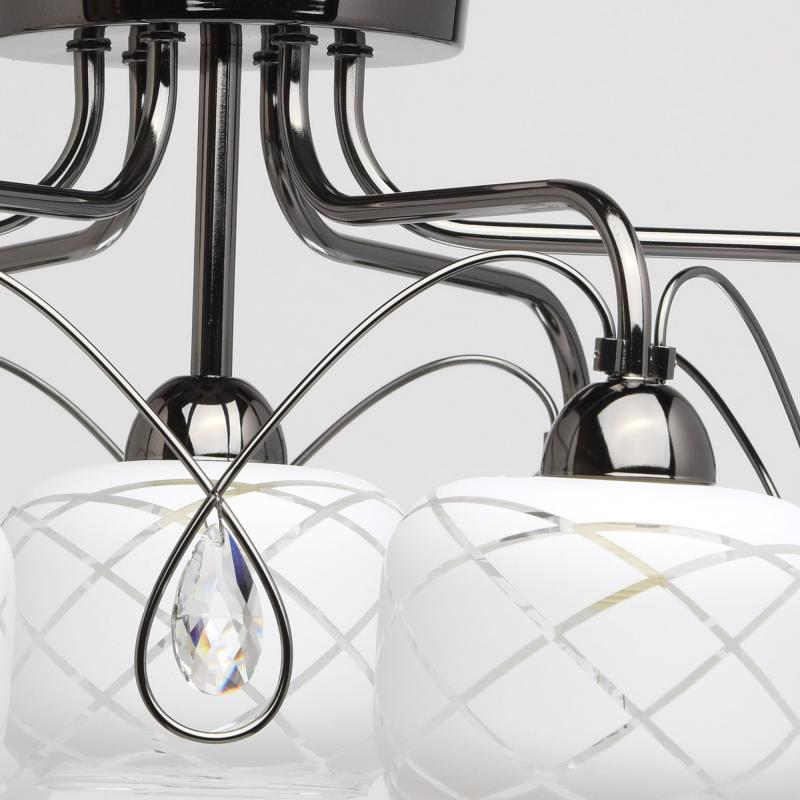 Люстра Грация 7xE14x60 Вт, металл/стекло, цвет никель/белый