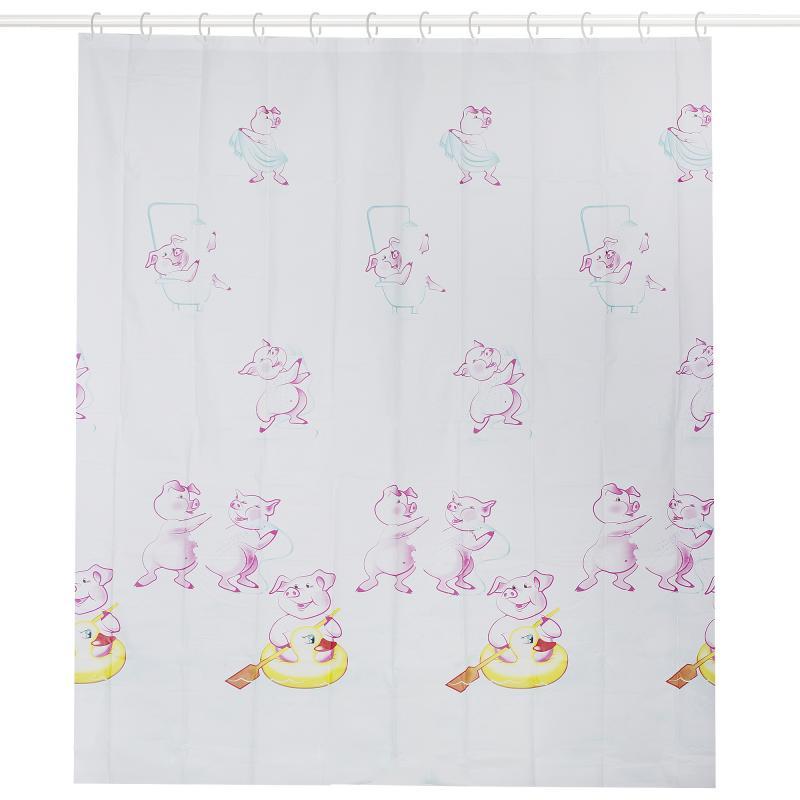 Штора для ванной комнаты «Поросята» 180х200 см цвет белый