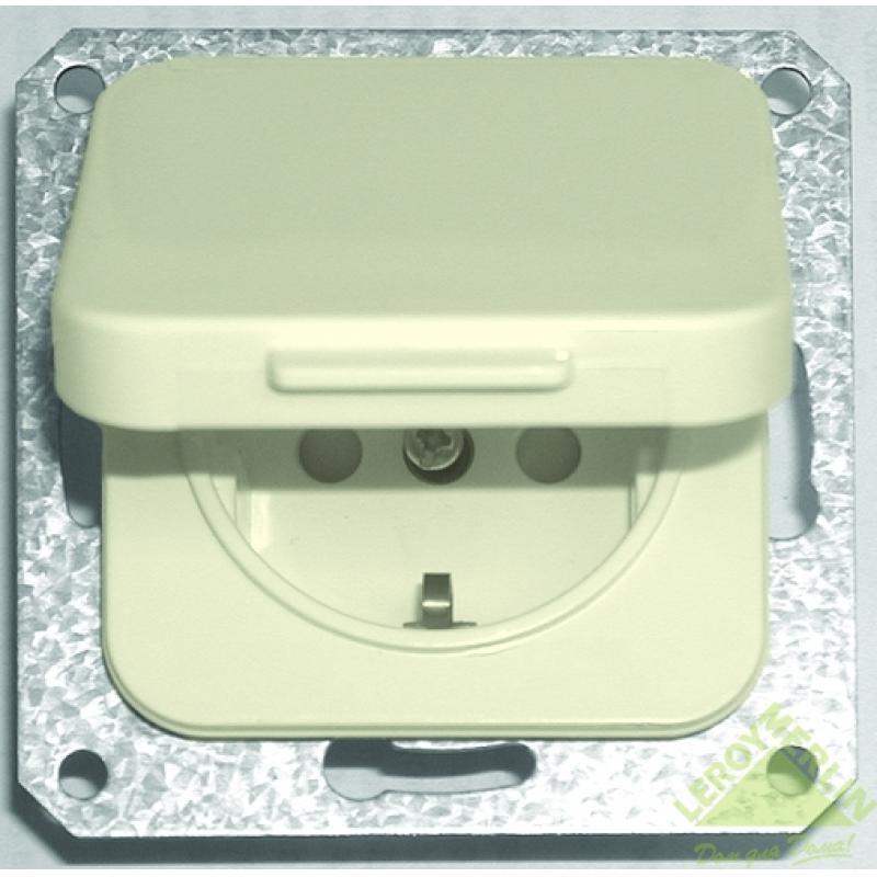Розетка Schneider Electric Eljo Trend с заземлением, крышка, цвет бежевый