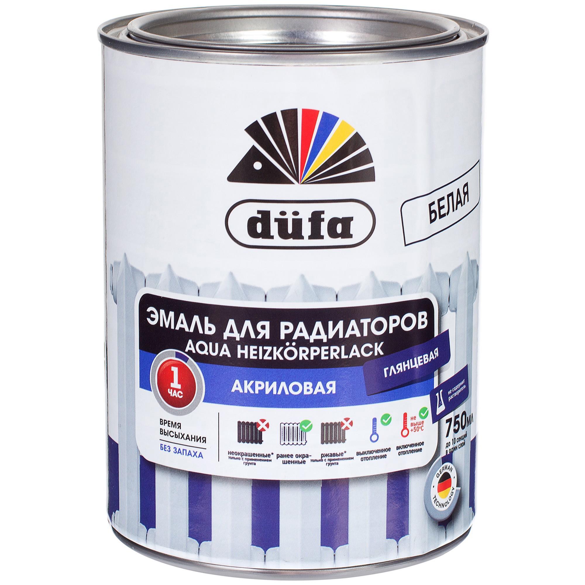 Акрилдік шайыр негізіндегі су қосып сұйылтатын эмаль: Dufa Aqua-Heizkorperlack радиаторларға арналған эмаль, ақ түсті, 0,75 л