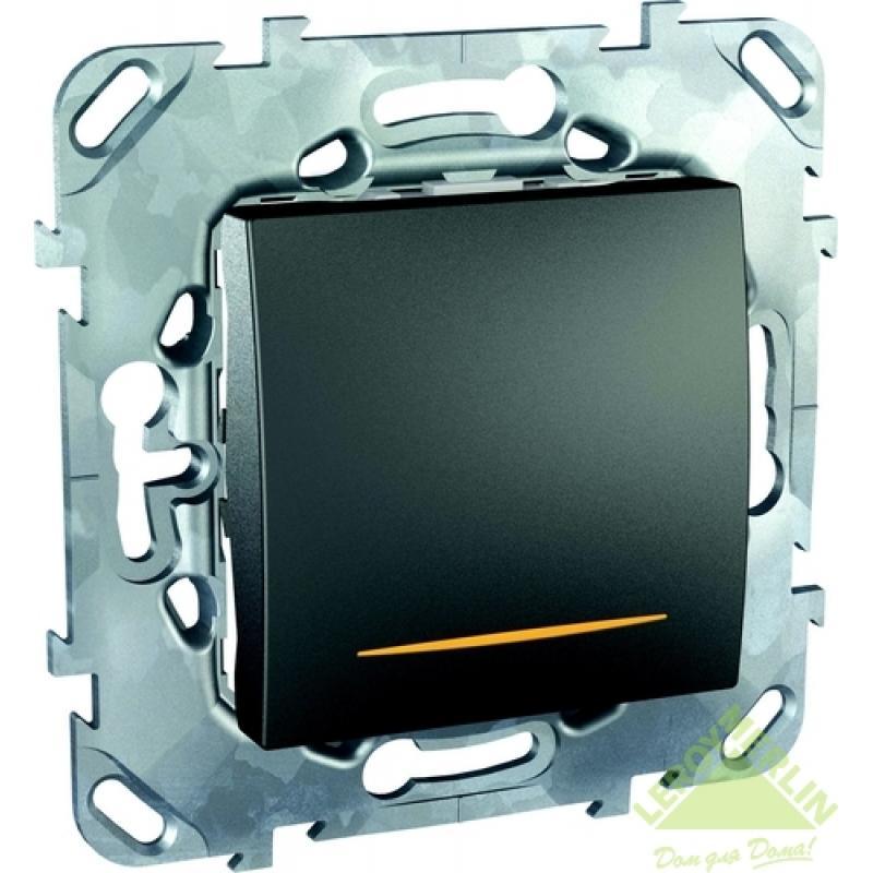 Выключатель встраиваемый Schneider Electric Unica TOP 1 клавиша с подсветкой, цвет графит