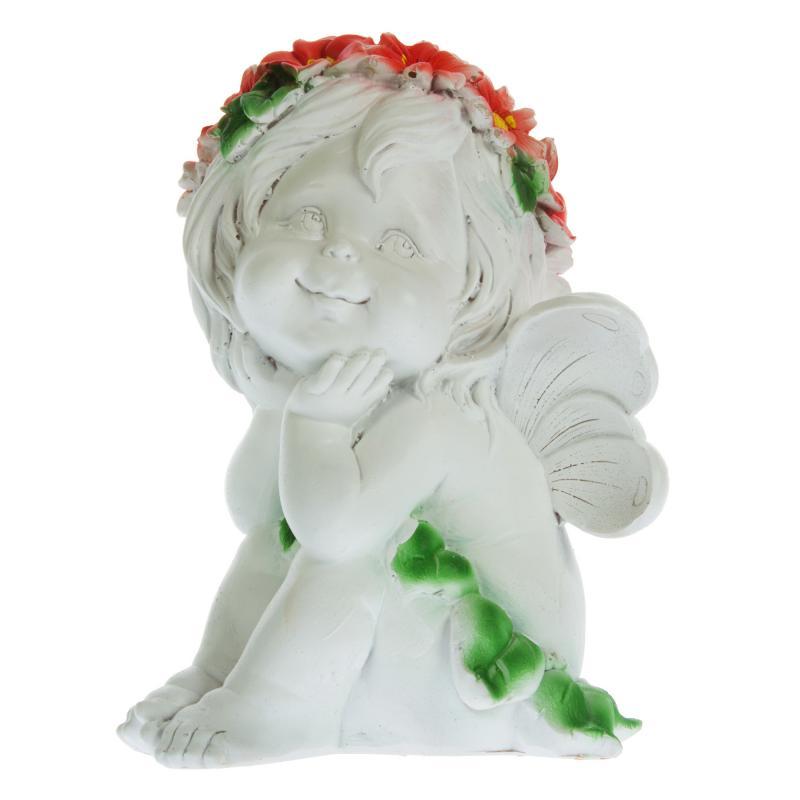 Фигура садовая «Ангелочек-мечтатель» высота 29 см