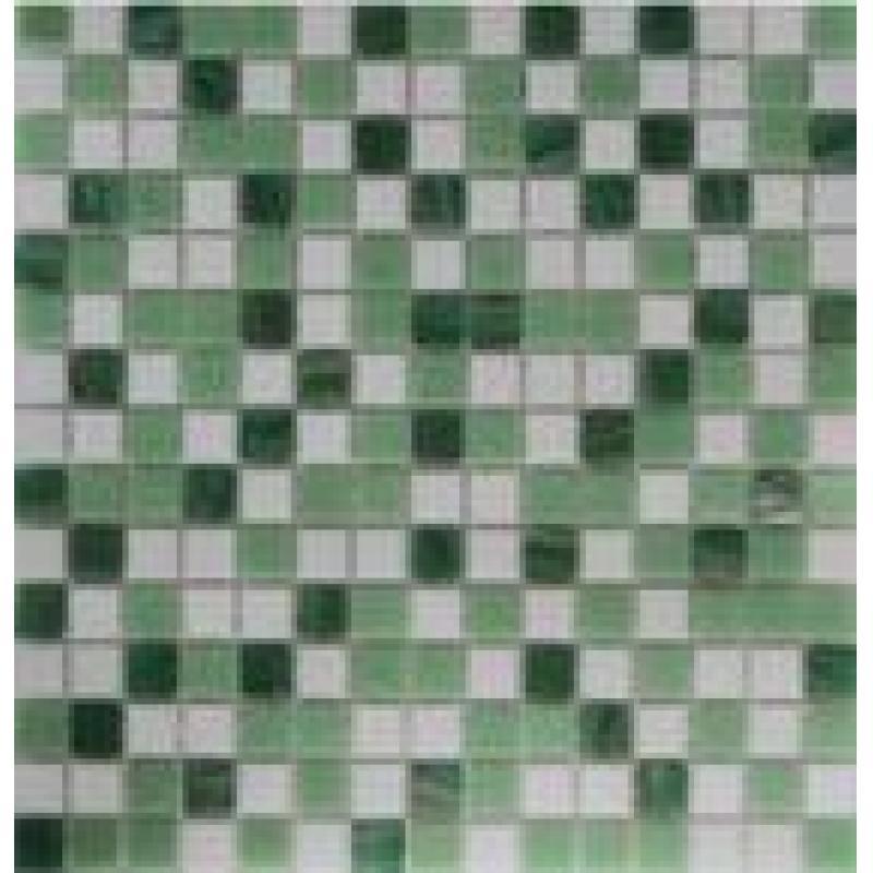 Мозаика, 32.7х32.7 см, 4 мм, стекломасса, цвет бело-зелёный микс
