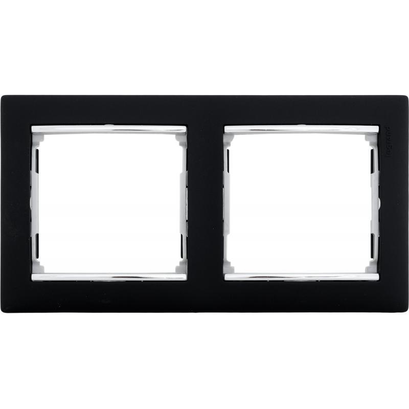 Рамка для розеток и выключателей Legrand Valena 2 поста, цвет ноктюрн/серебряный штрих