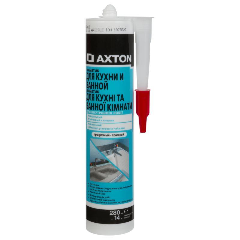 Герметик для кухни и ванной нейтральный Axton 280мл, прозрачный