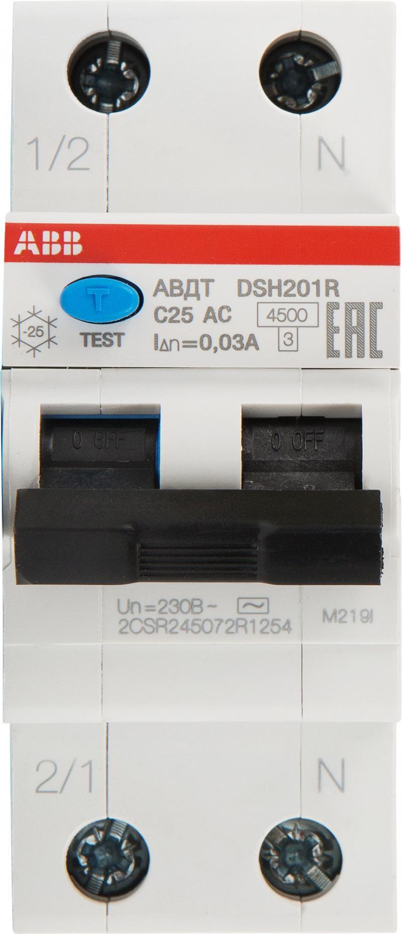 Автомат дифференциальный Abb 2 полюса 25 А, 2CSR145001R1254
